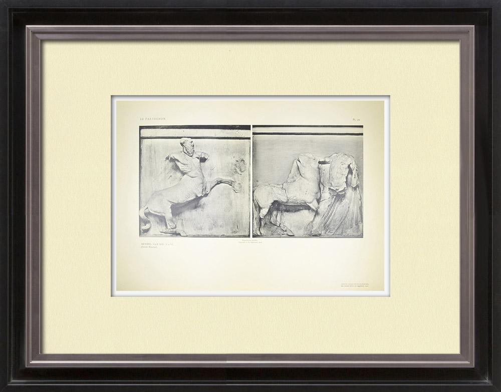 Stare Grafiki & Rysunki | Metopy Partenonu - Centaury (Grecja) | Heliograwiura | 1912