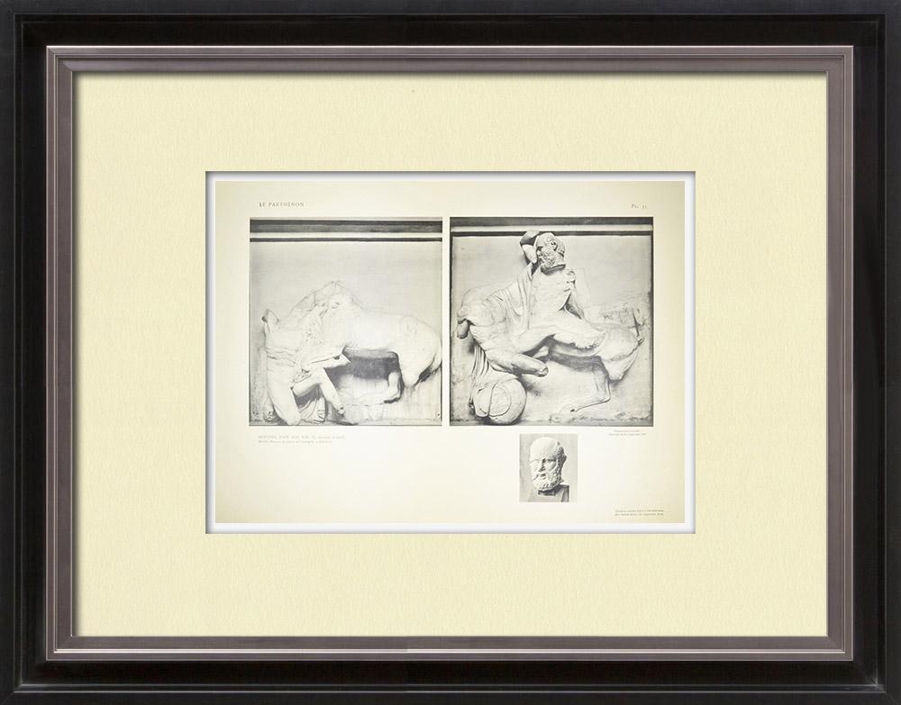 Gravures Anciennes & Dessins | Métopes du Parthénon - Face sud - VIII et IX - Centaure (Grèce) | Héliogravure | 1912