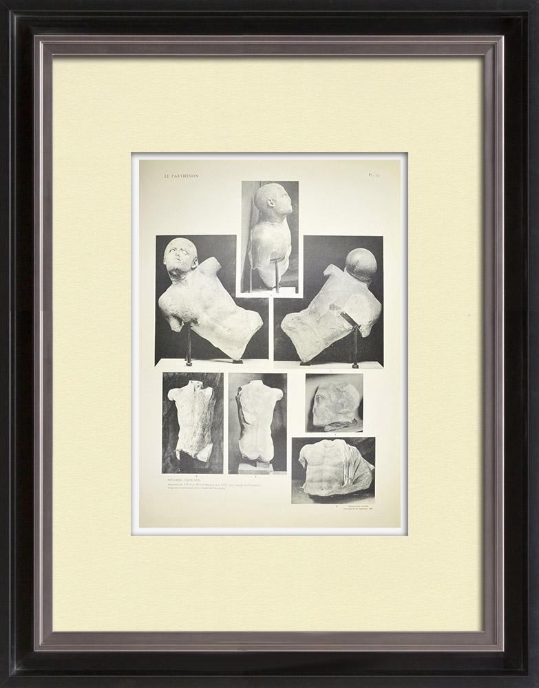 Grabados & Dibujos Antiguos   Metopas del Partenón - Partes (Grecia)   Heliograbado   1912