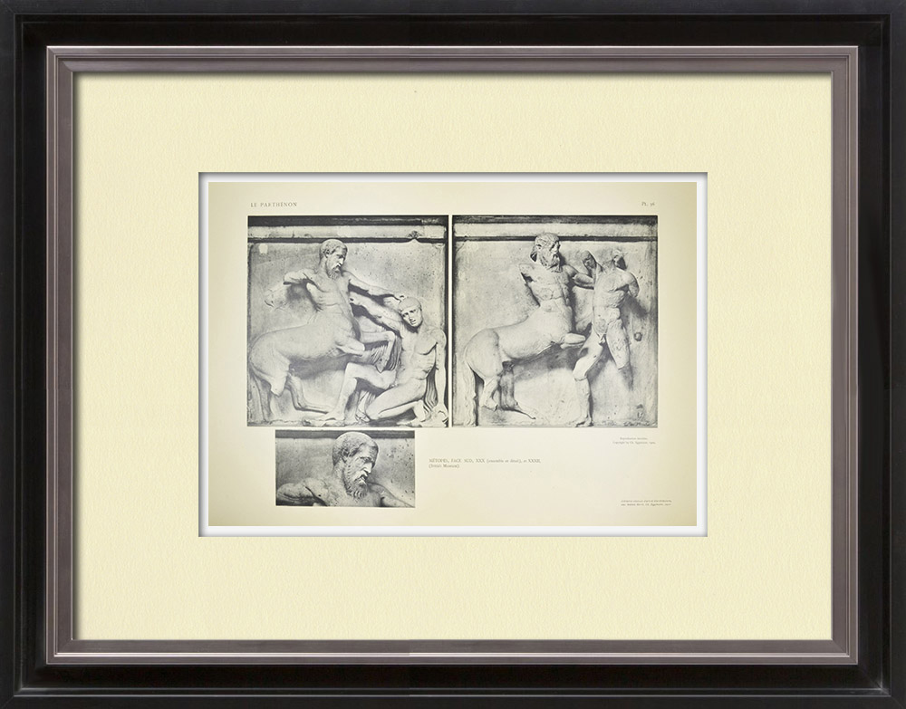 Antique Print & Etching   Parthenonmetope - Kentaur (Griechenland)   Heliogravüre   1912