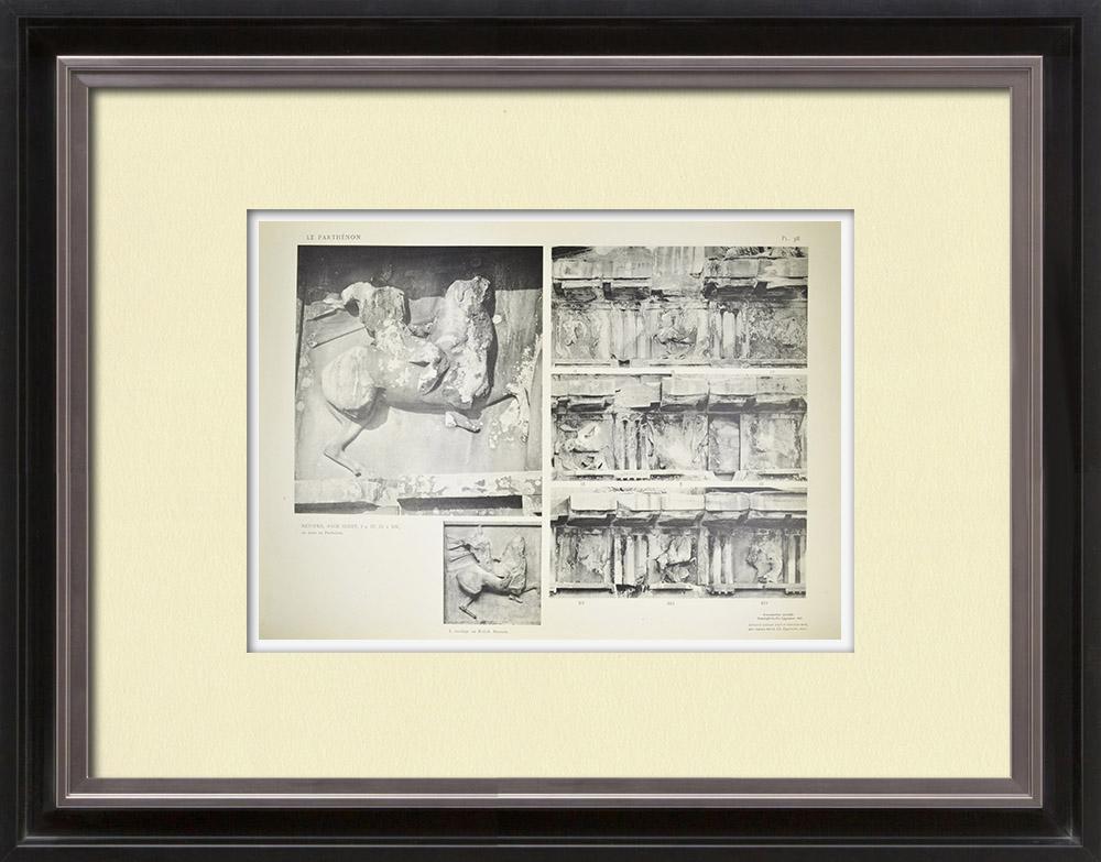 Grabados & Dibujos Antiguos   Metopas del Partenón - Amazona (Grecia)   Heliograbado   1912