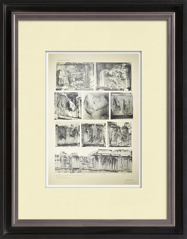 Stare Grafiki & Rysunki | Metopy Partenonu - Menelaos - Helen (Grecja) | Heliograwiura | 1912