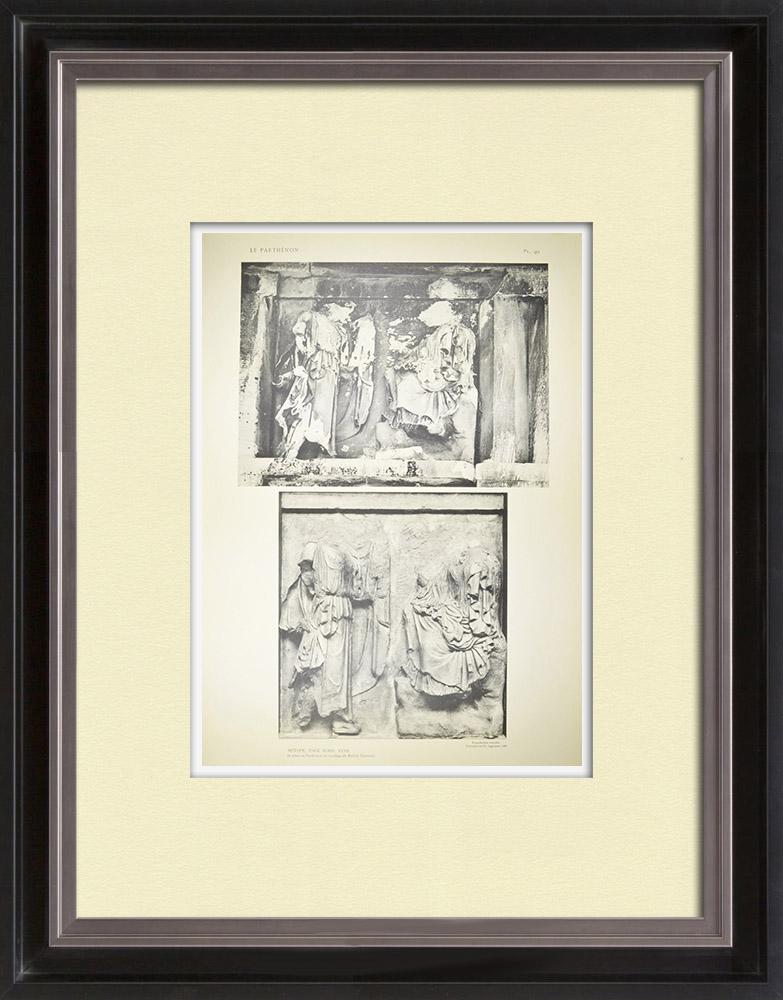 Antique Print & Etching | Parthenonmetope - XXXII - Athene und Hera (Griechenland) | Heliogravüre | 1912