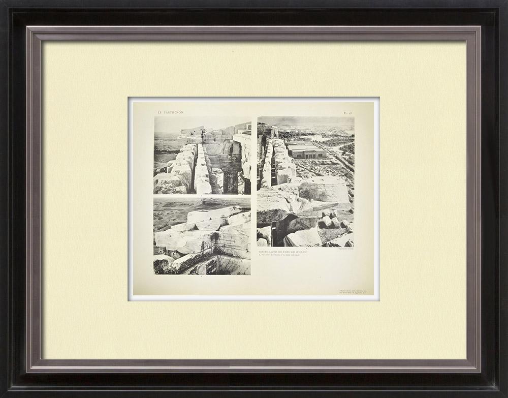 Grabados & Dibujos Antiguos | Vista del Partenón - Fachadas sur y oeste (Grecia) | Heliograbado | 1912