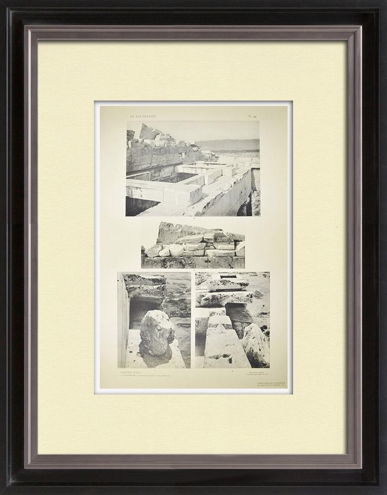 Antique Print & Etching | Ansicht von den Parthenon - Westpediment (Griechenland) | Heliogravüre | 1912