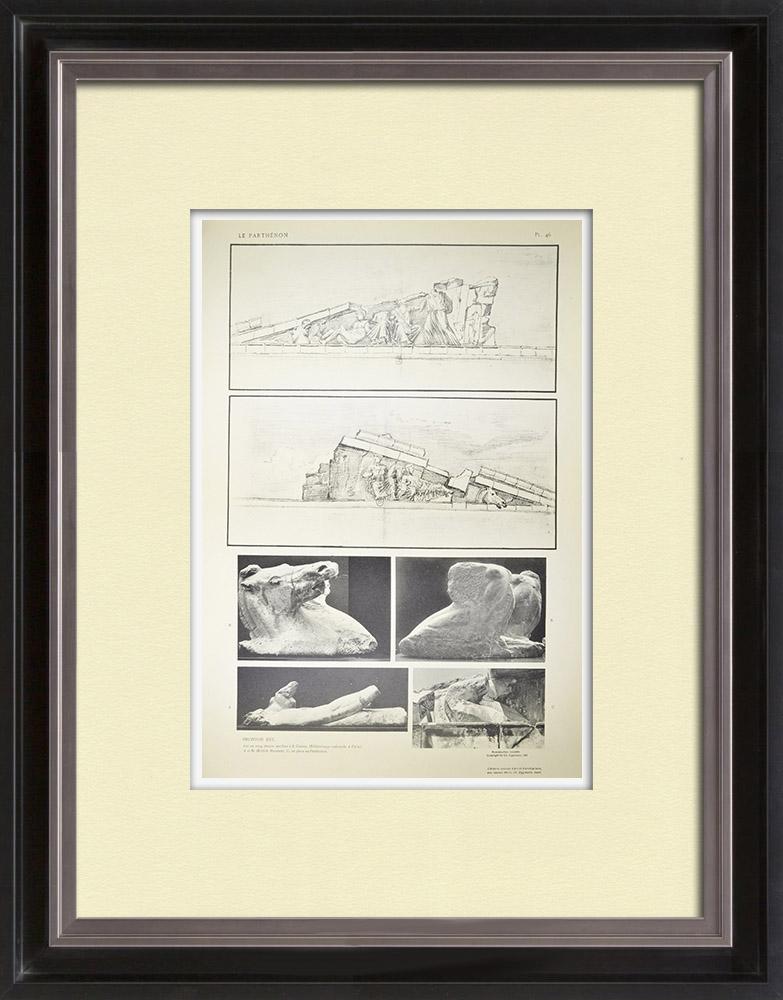 Grabados & Dibujos Antiguos | Vista del Partenó - Frontón este - Nacimiento d'Atenea (Grecia) | Heliograbado | 1912