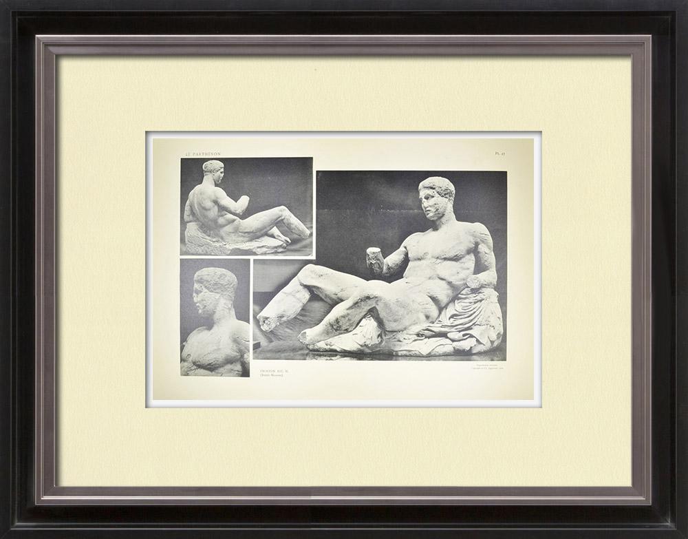 Antique Print & Etching | Ansicht von den Parthenon - Ostenpediment - Dionysos (Griechenland) | Heliogravüre | 1912