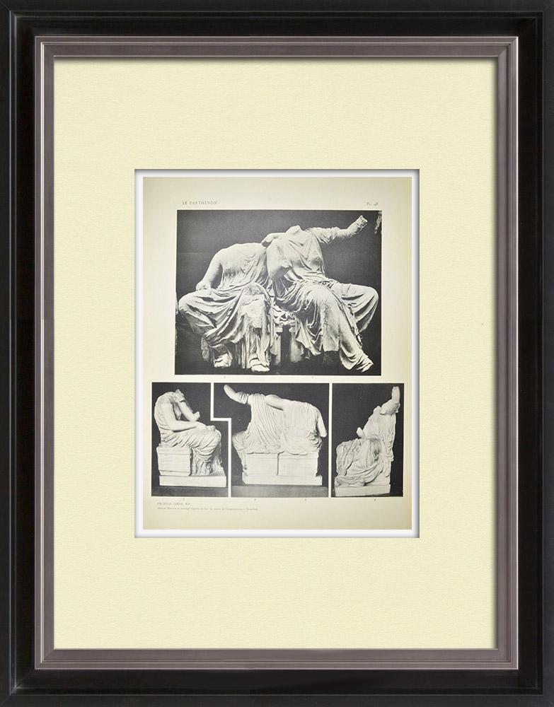 Oude Prenten & Tekeningen | Gezicht op het Parthenon - Oostfronton - Deméter - Perséphone (Griekenland) | Heliogravure | 1912