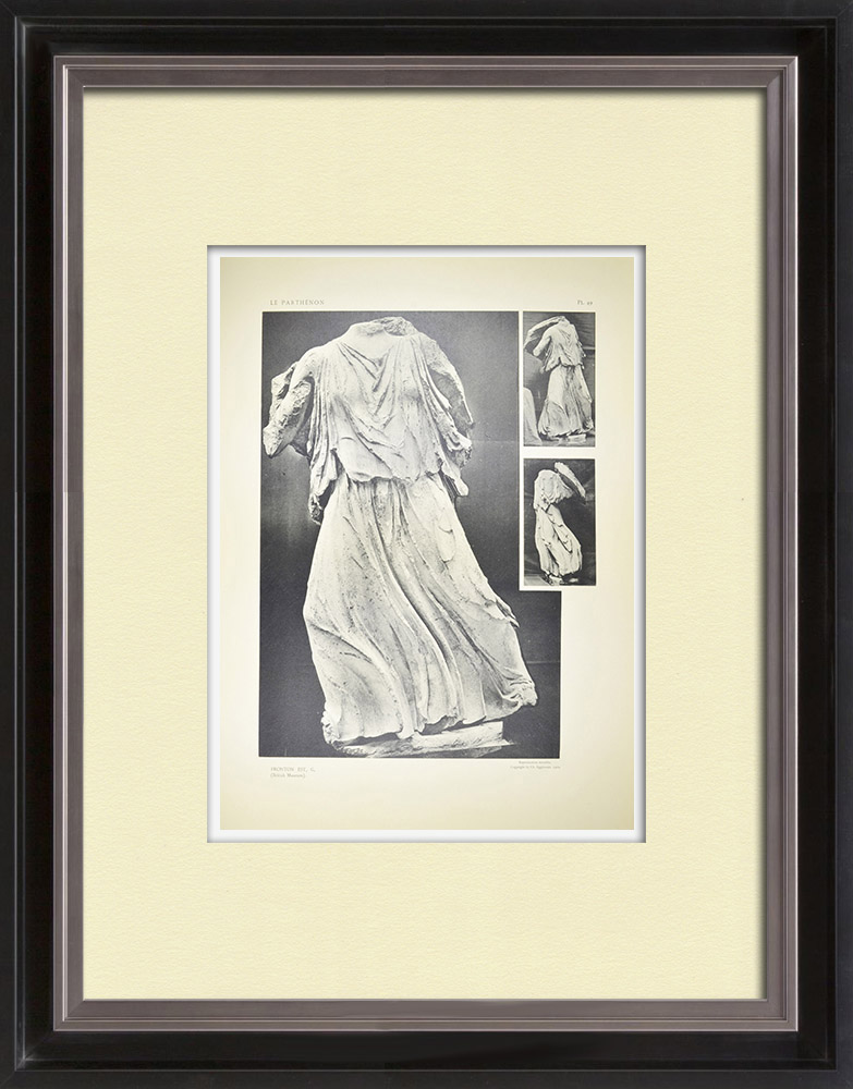 Gravures Anciennes & Dessins | Vue du Parthénon - Fronton est - Perséphone (Grèce) | Héliogravure | 1912