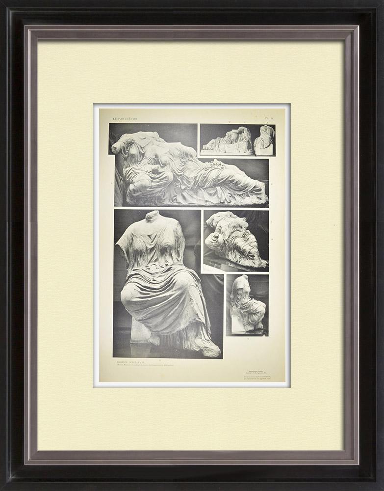 Grabados & Dibujos Antiguos | Vista del Partenó - Frontón este - Hestia, Dione y Afrodita (Grecia) | Heliograbado | 1912