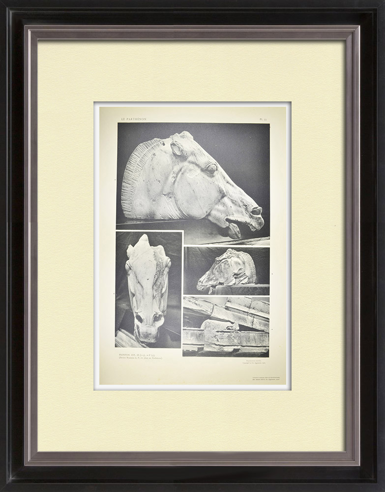 Antique Prints & Drawings | View of the Parthenon - East pediment - Head of a Selene's horse (Greece) | Heliogravure | 1912