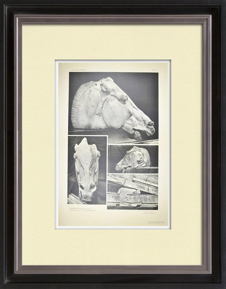 Oude Prenten & Tekeningen | Gezicht op het Parthenon - Oostfronton - kop van het Paard van een Selene (Griekenland) | Heliogravure | 1912