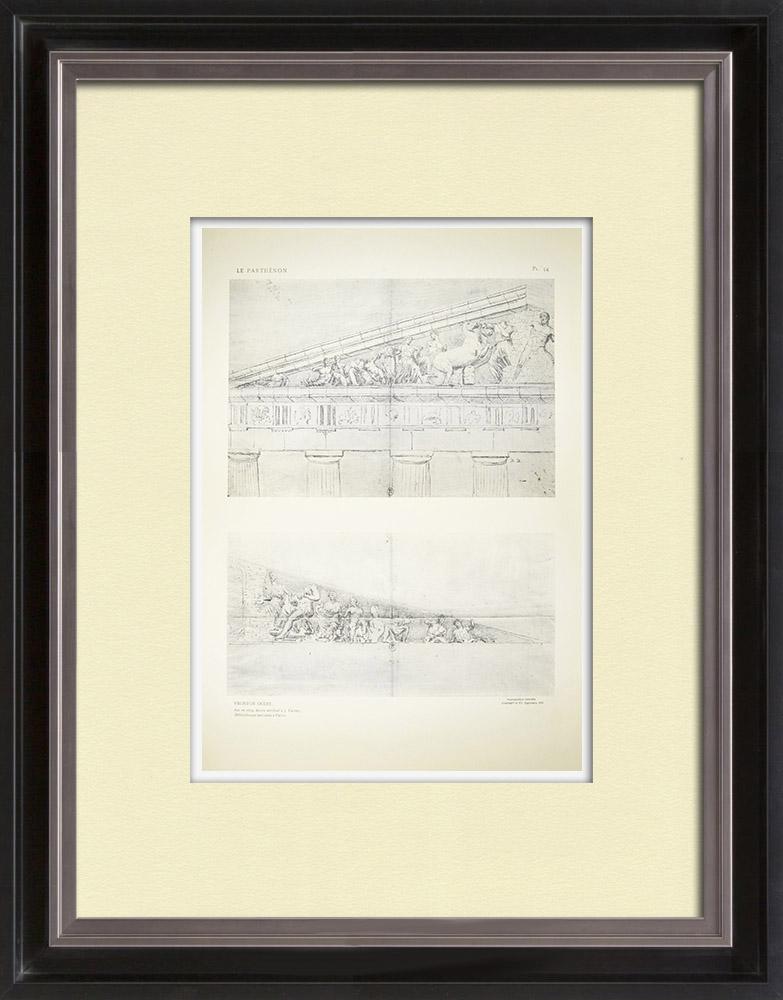 Gravures Anciennes & Dessins | Vue du Parthénon - Fronton ouest en 1674 (Grèce) | Héliogravure | 1912