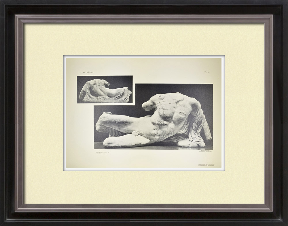 Stare Grafiki & Rysunki | Widok Partenon - Fronton Zachodni - Phidias (Grecja) | Heliograwiura | 1912