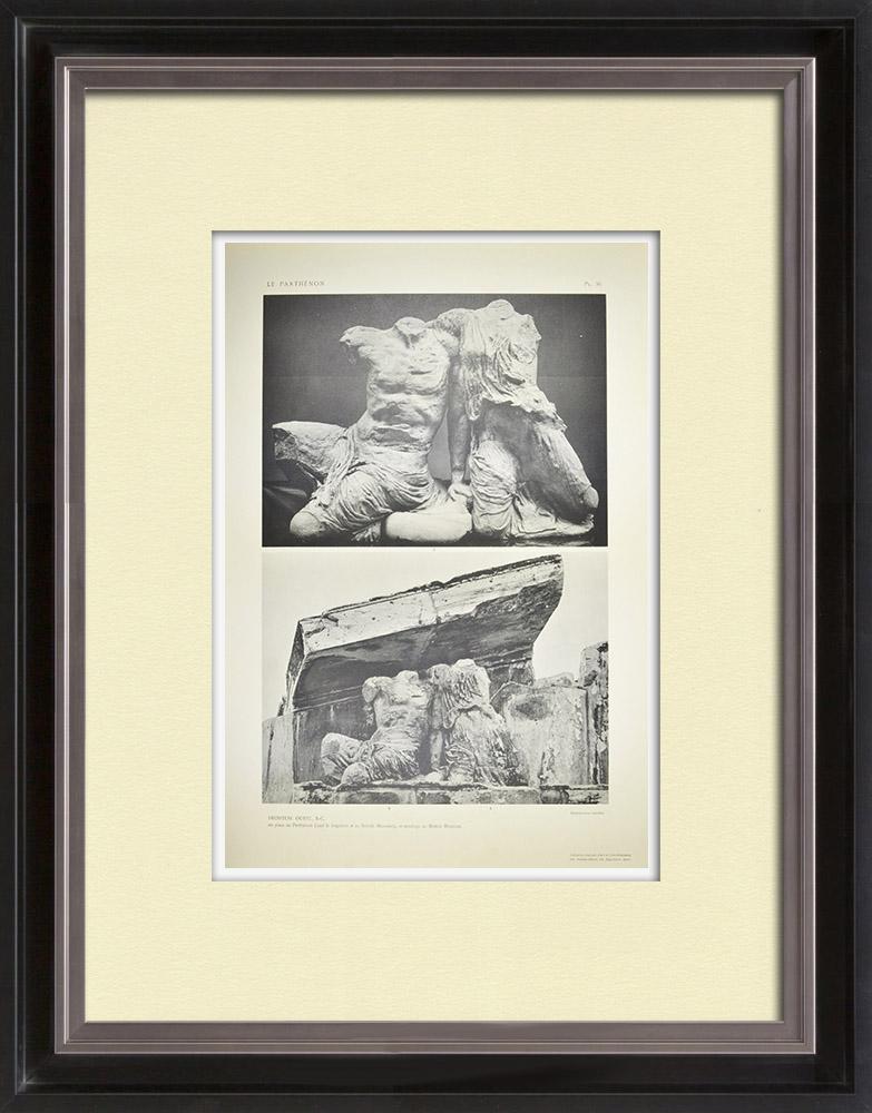 Gravures Anciennes & Dessins | Vue du Parthénon - Fronton ouest - Athéna et Poséidon (Grèce)  | Héliogravure | 1912