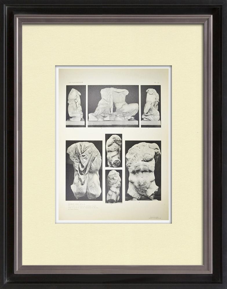 Oude Prenten & Tekeningen | Gezicht op het Parthenon - West Fronton - Kekrops - Pandrosos (Griekenland) | Heliogravure | 1912