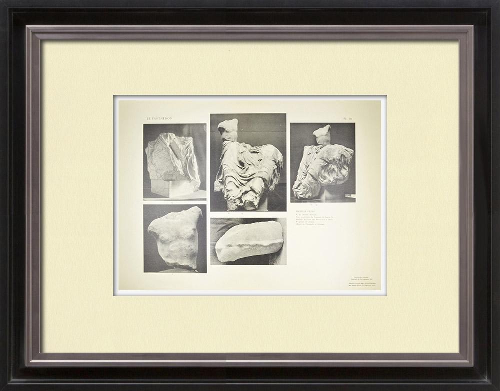 Gravures Anciennes & Dessins | Vue du Parthénon - Fronton ouest (Grèce) | Héliogravure | 1912
