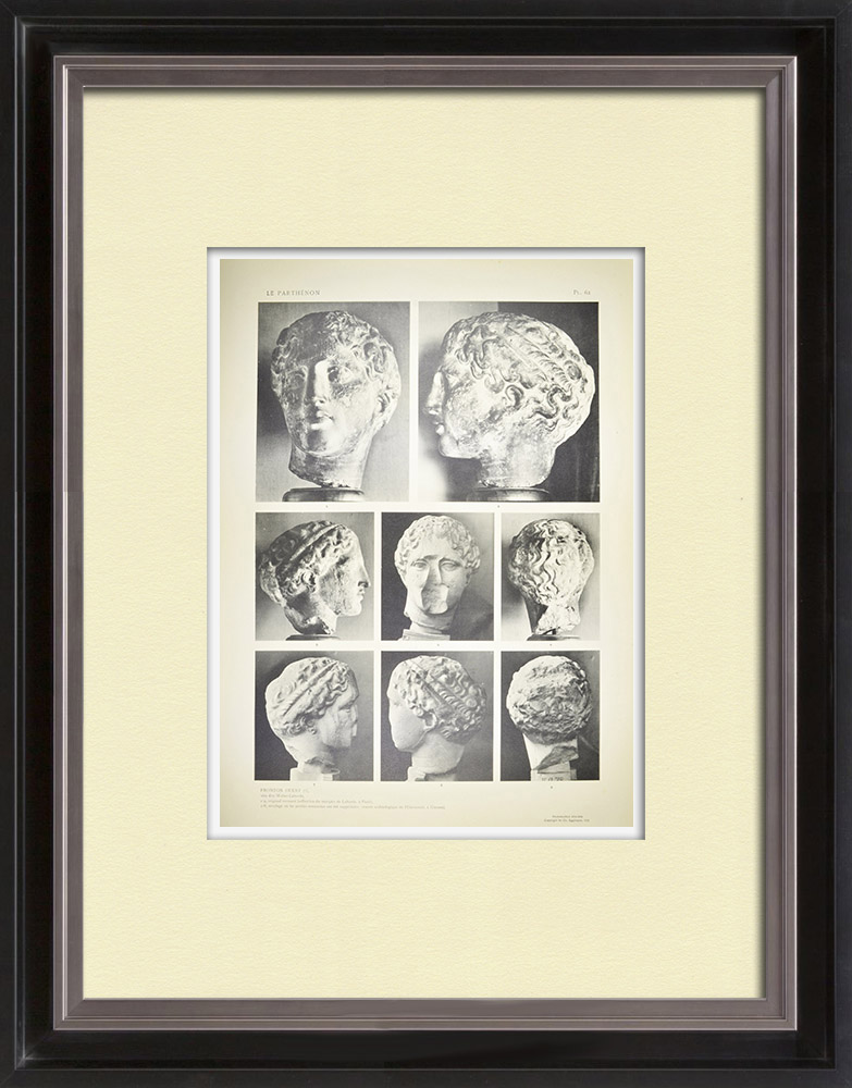 Antique Prints & Drawings | Parthenon - West pediment - Head called Weber-Laborde - Iris (Greece) | Heliogravure | 1912