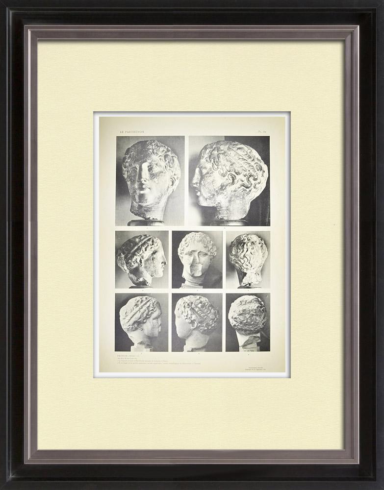 Gravures Anciennes & Dessins | Parthénon - Fronton ouest - Tête dite Weber-Laborde - Tête de Iris (Grèce) | Héliogravure | 1912