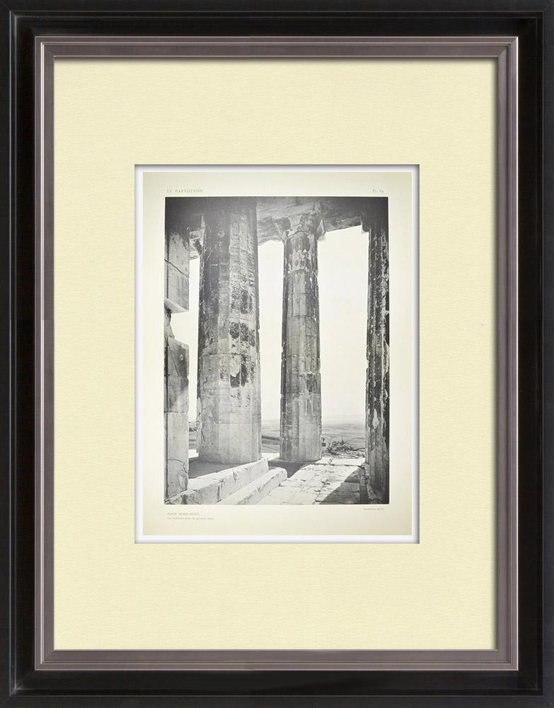 Antique Print & Etching | Ansicht von den Parthenon, nordwestliche Ecke (Griechenland) | Heliogravüre | 1912