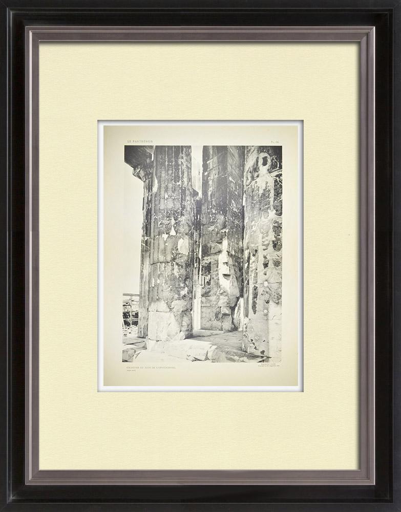 Grabados & Dibujos Antiguos | Vista del Partenón - Columnas del Opistódomo (Grecia)  | Heliograbado | 1912