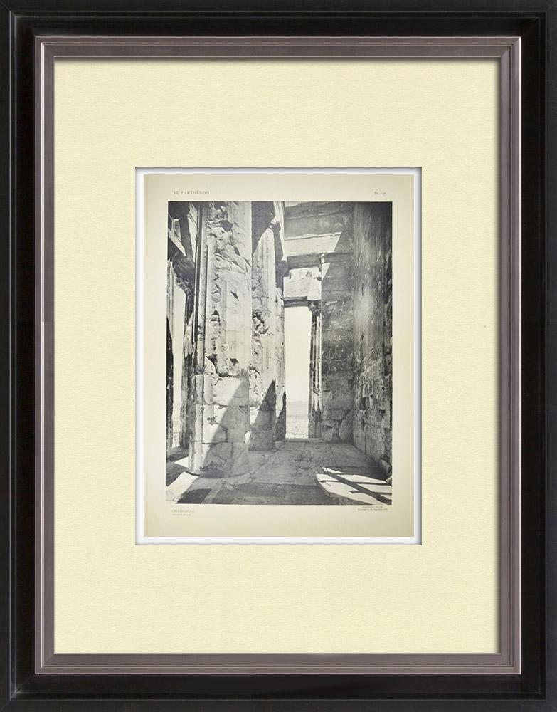 Grabados & Dibujos Antiguos | Vista del Partenón - Opistódomo (Grecia)  | Heliograbado | 1912