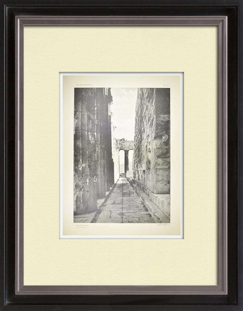 Grabados & Dibujos Antiguos | Vista del Partenón - Peristilo del norte (Grecia) | Heliograbado | 1912