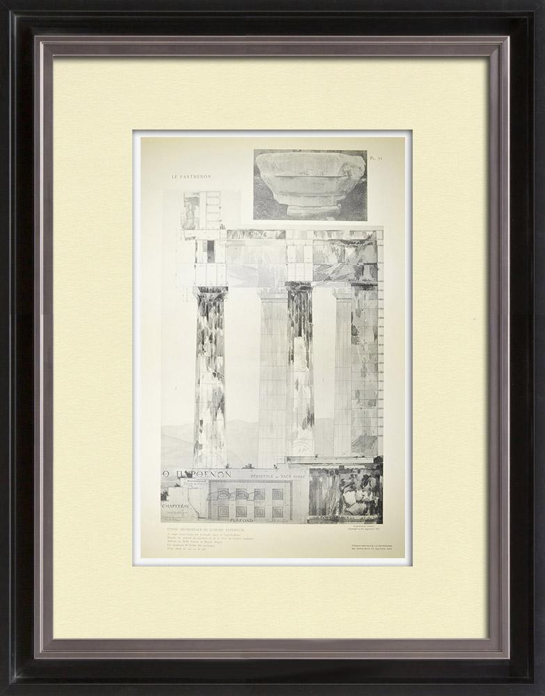 Stampe Antiche & Disegni | Veduta delle Partenone - Opistodomo - Soffitto delle peristilio - Capitello (Grecia) | Heliogravure | 1912