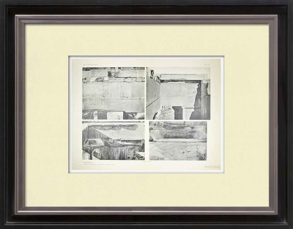 Antique Print & Etching | Ansicht von den Parthenon - Opisthodom - Gebälk (Griechenland) | Heliogravüre | 1912