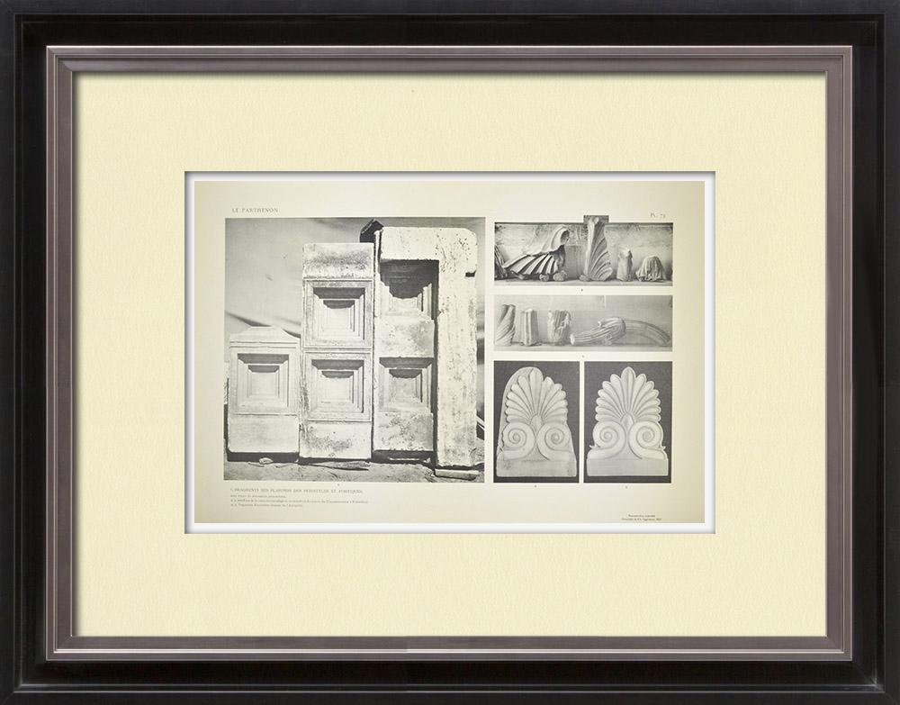 Antika Tryck & Ritningar | Vy över Parthenon - Tak för peristyl och portik (Grekland) | Heliogravyr | 1912