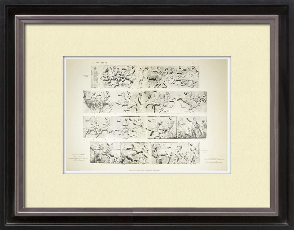 Gravures Anciennes & Dessins | Parthénon - Frise ionique de la Cella - Face ouest - Vue d'ensemble - Pl. 76 | Héliogravure | 1912