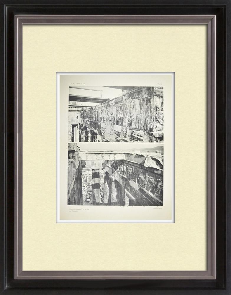Grabados & Dibujos Antiguos | Partenón - Friso jónico de la Cella - Cara oeste - Vista General - Pl. 77 | Heliograbado | 1912