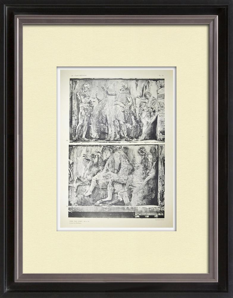 Gravuras Antigas & Desenhos | Partenão - Friso iônico da Cela - Face oeste - Pl. 80 | Heliogravura | 1912