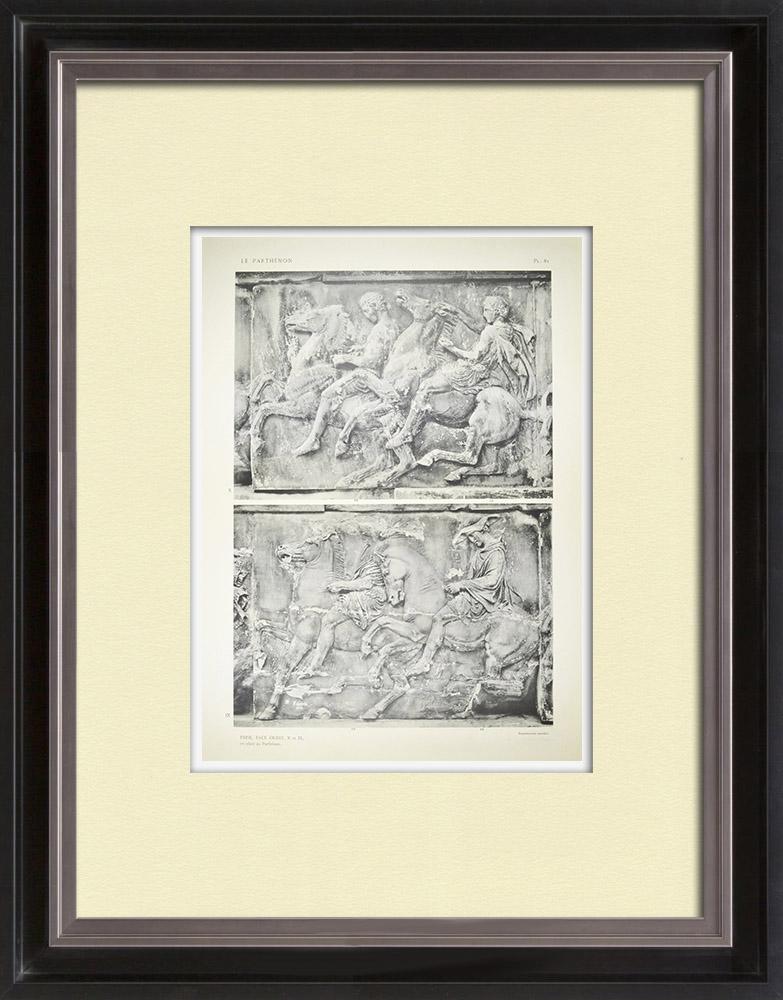 Gravuras Antigas & Desenhos | Partenão - Friso iônico da Cela - Face oeste - Pl. 81 | Heliogravura | 1912