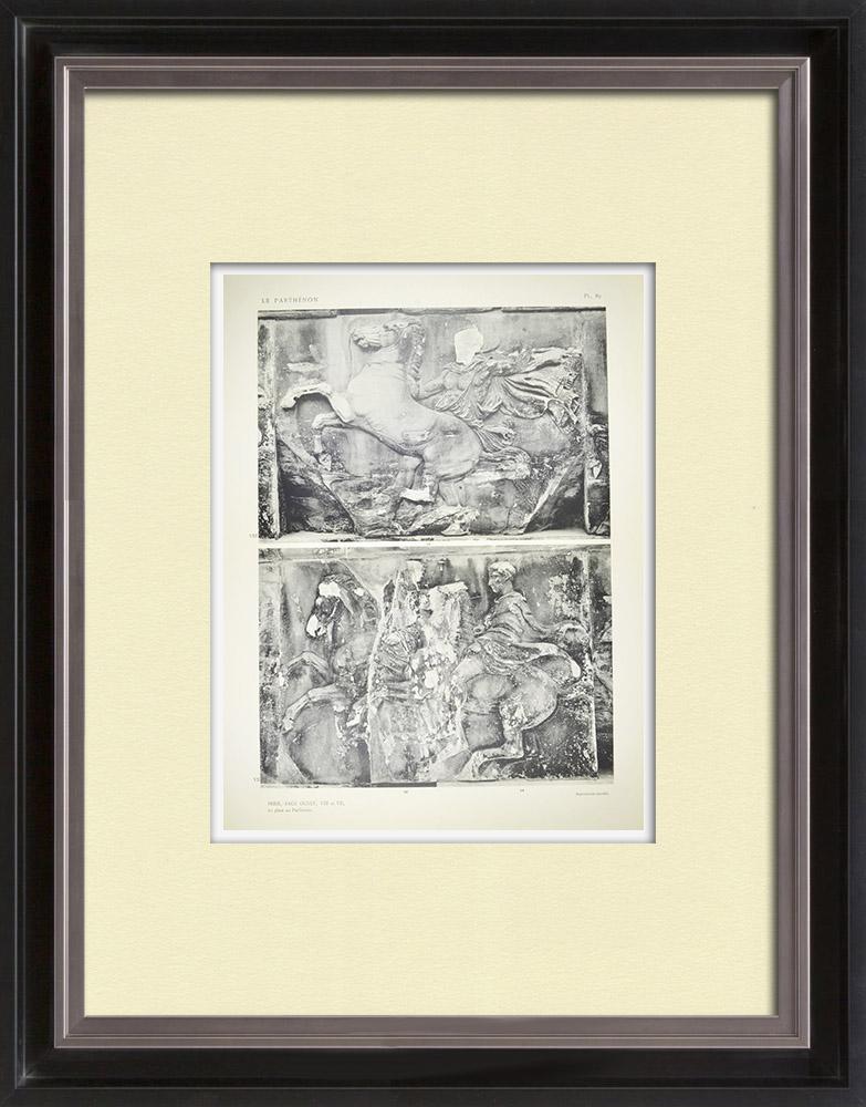Stare Grafiki & Rysunki | Partenon - Fryz Jonowy Celli - Strona Zachodnia - pl. 82 | Heliograwiura | 1912