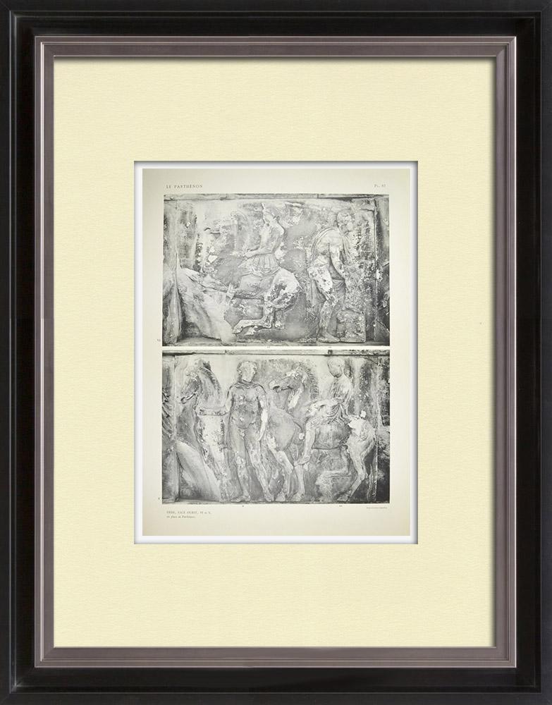 Gravuras Antigas & Desenhos | Partenão - Friso iônico da Cela - Face oeste - Pl. 83 | Heliogravura | 1912
