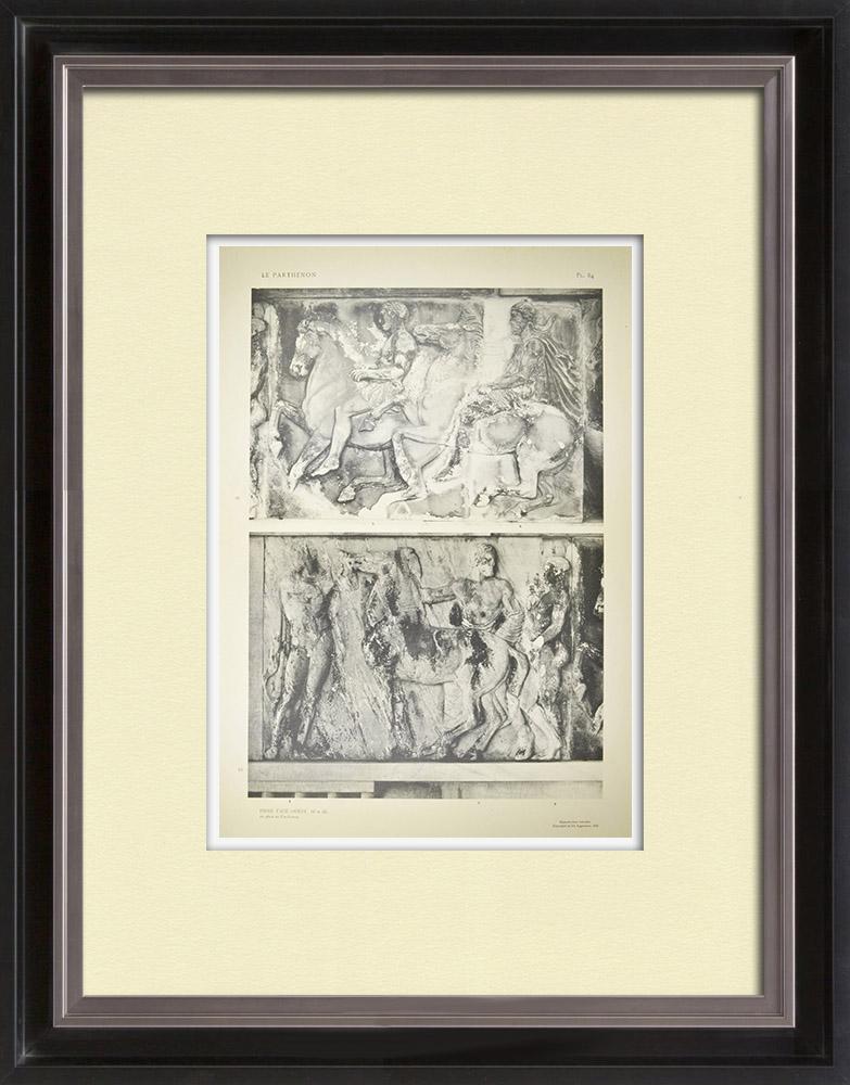 Stare Grafiki & Rysunki | Partenon - Fryz Jonowy Celli - Strona Zachodnia - pl. 84 | Heliograwiura | 1912