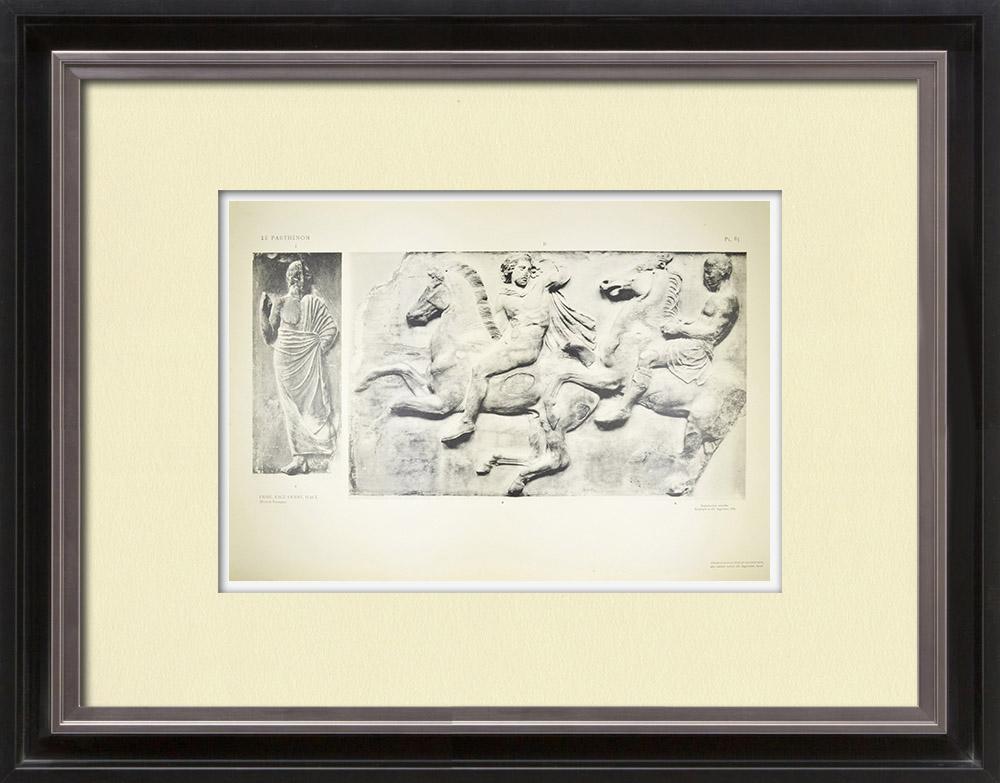 Gravures Anciennes & Dessins | Parthénon - Frise ionique de la Cella - Face ouest - Pl. 85 | Héliogravure | 1912