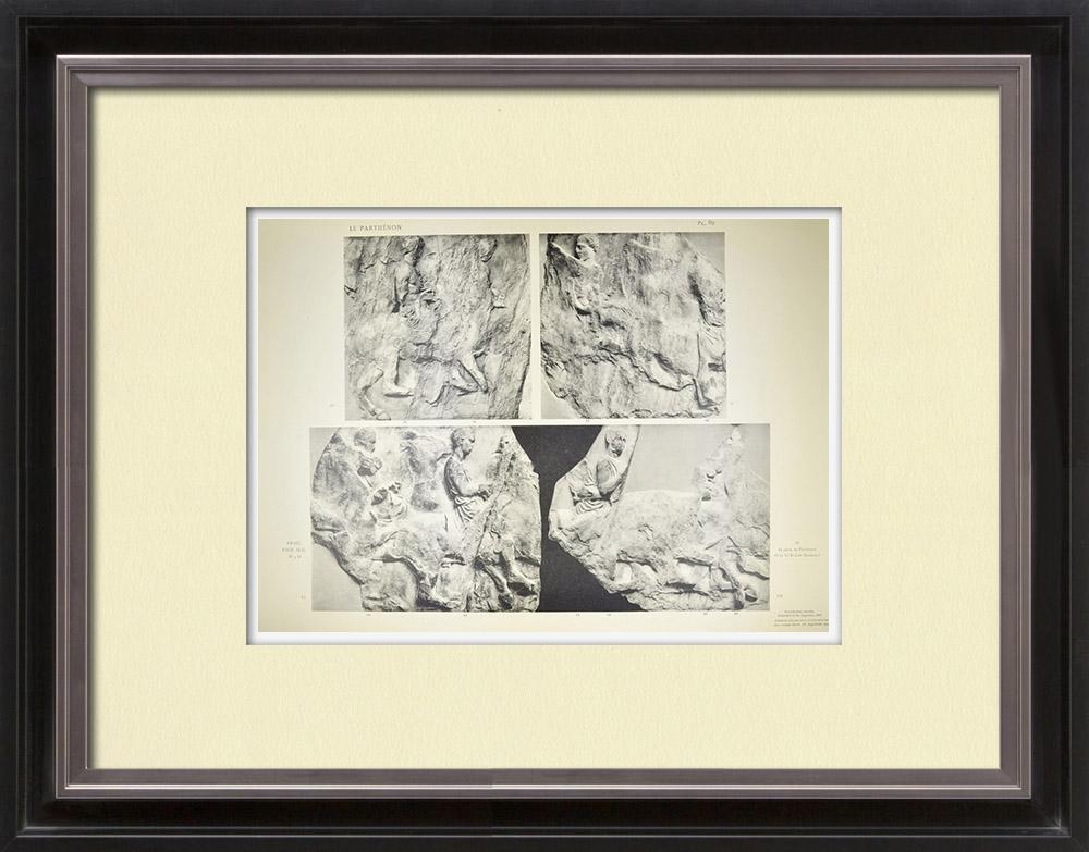 Grabados & Dibujos Antiguos   Partenón - Friso jónico de la Cella - Cara sur - Pl. 89   Heliograbado   1912