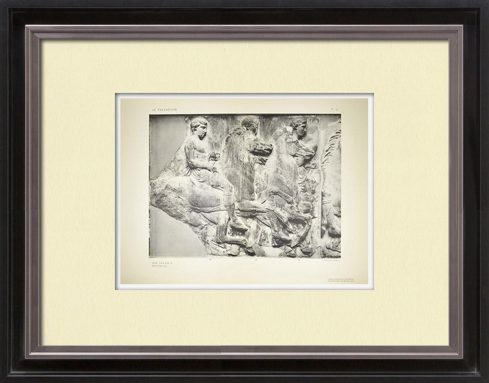 Gravures Anciennes & Dessins | Parthénon - Frise ionique de la Cella - Face sud - Pl. 91 | Héliogravure | 1912