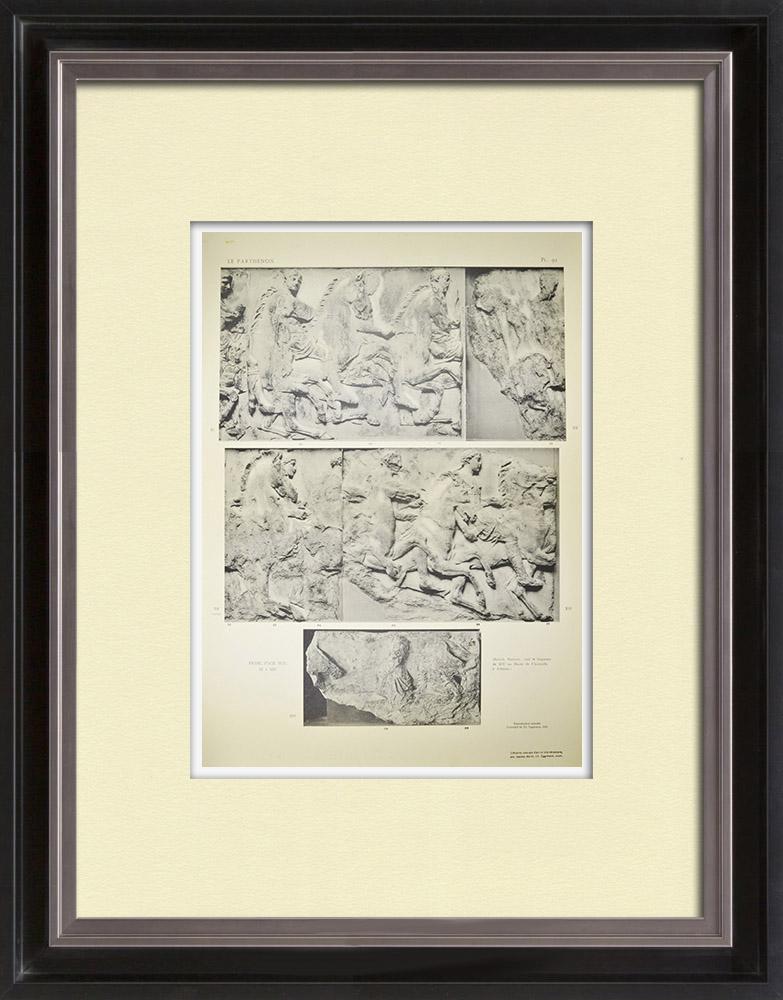 Grabados & Dibujos Antiguos | Partenón - Friso jónico de la Cella - Cara sur - Pl. 92 | Heliograbado | 1912