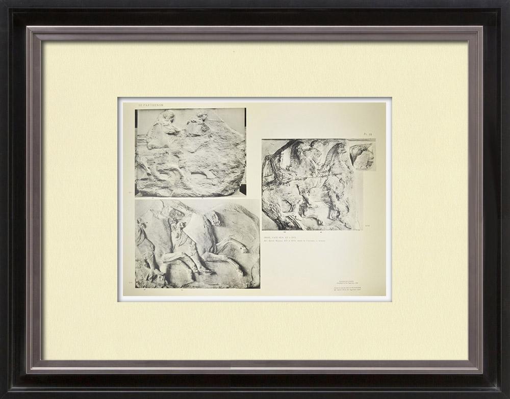 Gravuras Antigas & Desenhos | Partenão - Friso iônico da Cela - Face sul - Pl. 93 | Heliogravura | 1912