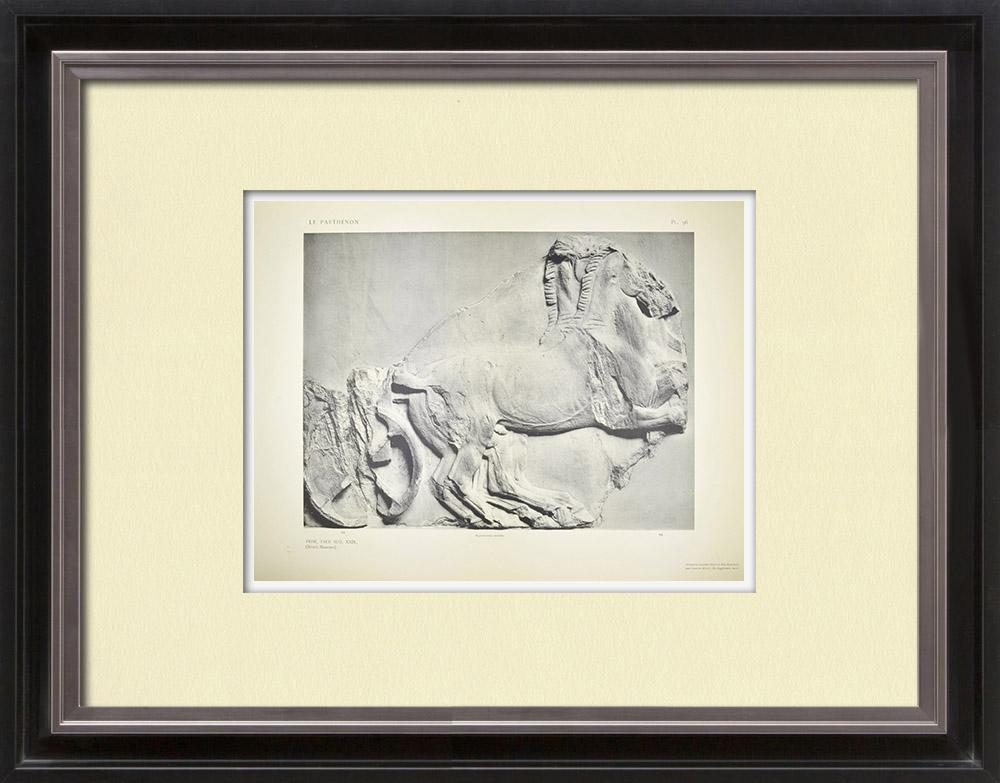 Stare Grafiki & Rysunki | Partenon - Fryz Jonowy Celli - Strona Południowa - pl. 96 | Heliograwiura | 1912