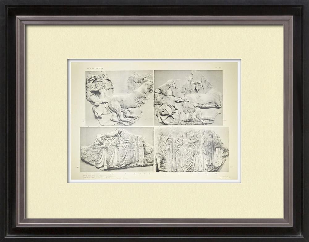 Gravures Anciennes & Dessins | Parthénon - Frise ionique de la Cella - Face sud - Pl. 97 | Héliogravure | 1912