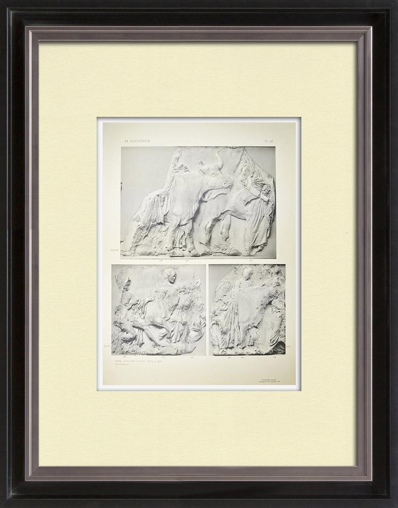 Gravuras Antigas & Desenhos | Partenão - Friso iônico da Cela - Face sul - Pl. 98 | Heliogravura | 1912