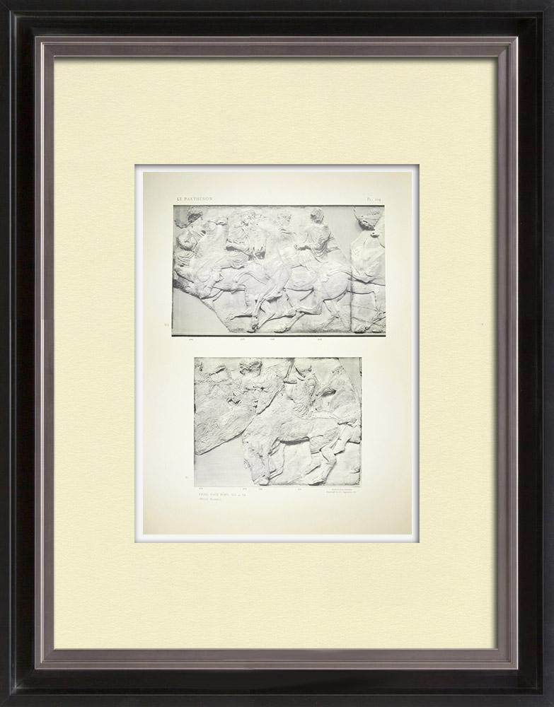 Grabados & Dibujos Antiguos | Partenón - Friso jónico de la Cella - Lado norte - Pl. 104 | Heliograbado | 1912