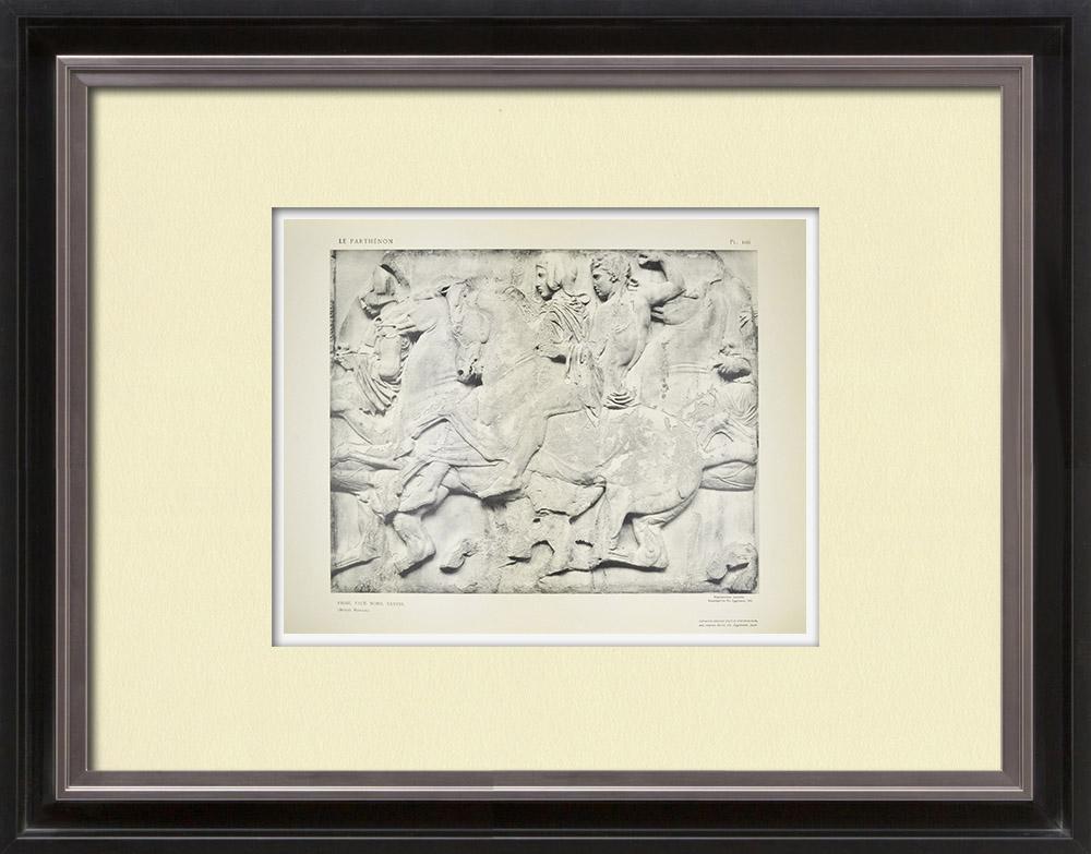 Gravures Anciennes & Dessins | Parthénon - Frise ionique de la Cella - Face nord - Pl. 106 | Héliogravure | 1912