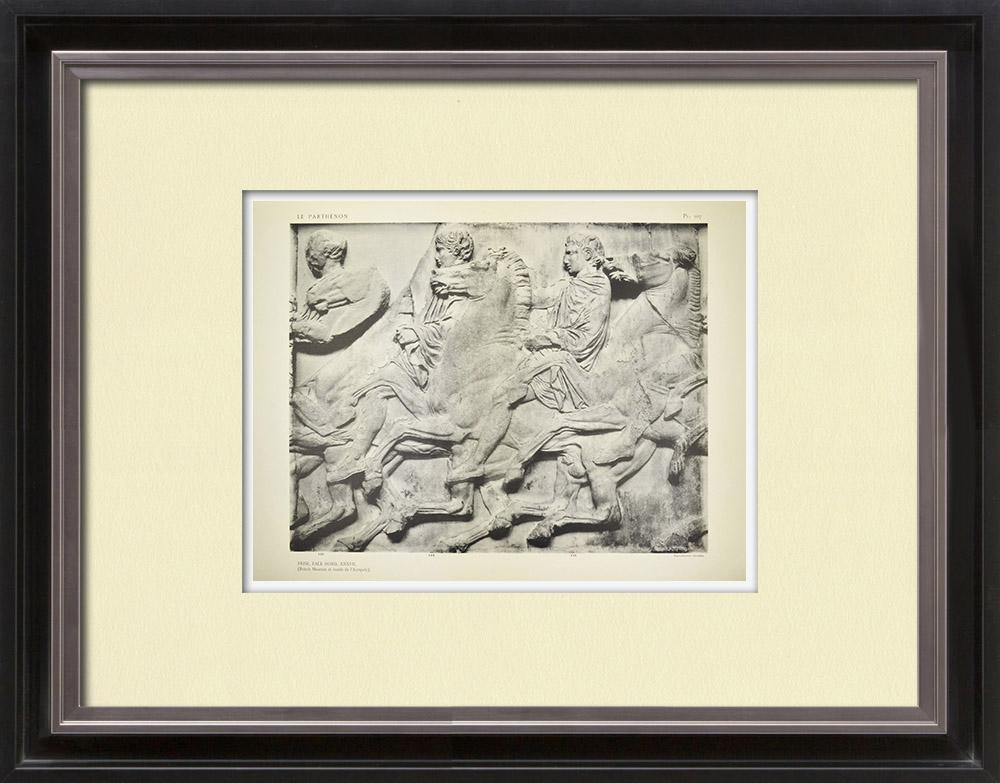 Antique Print & Etching | Parthenon - Ionenfries von Cella - Nord Seite - Pl. 107 | Heliogravüre | 1912
