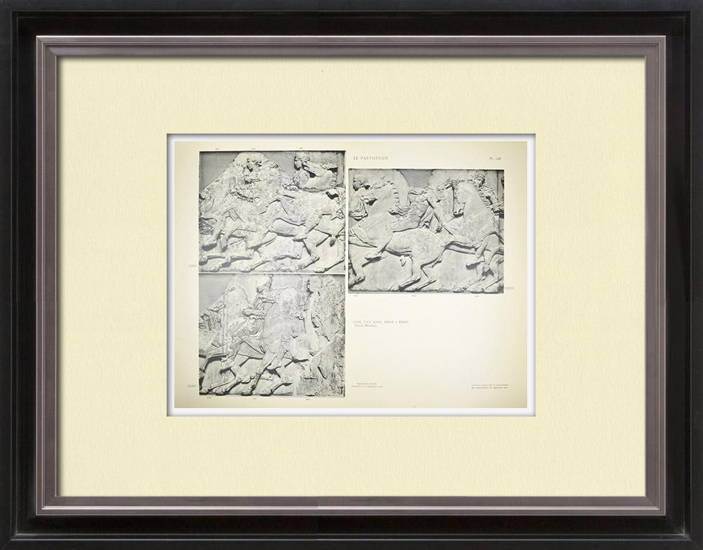 Gravures Anciennes & Dessins | Parthénon - Frise ionique de la Cella - Face nord - Pl. 108 | Héliogravure | 1912