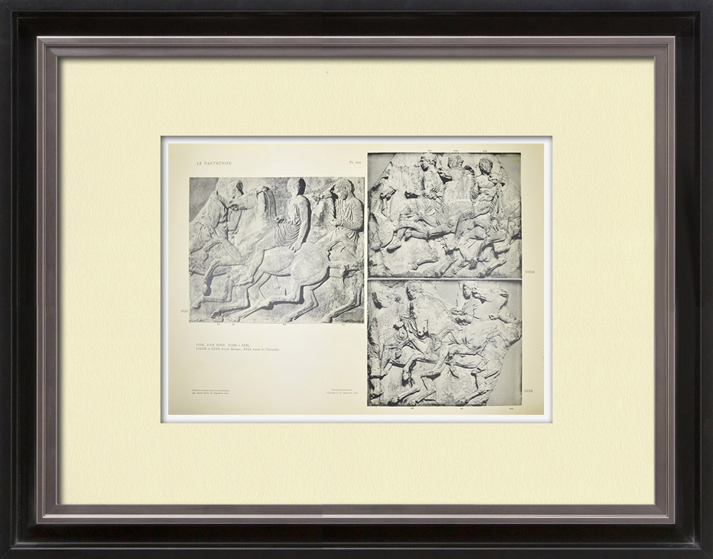 Gravuras Antigas & Desenhos | Partenão - Friso iônico da Cela - Lado norte - Pl. 109 | Heliogravura | 1912
